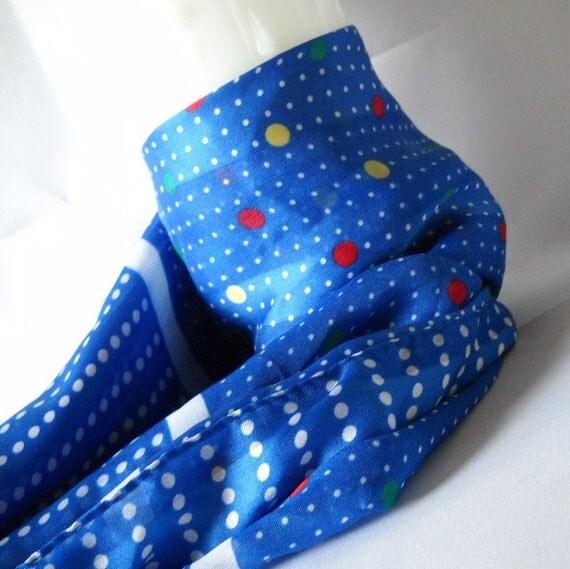 Vintage Scarf Polka Dot Scarf Blue Swiss Dot Scarf Italian Scarf  Mod Scarf Retro Fashion