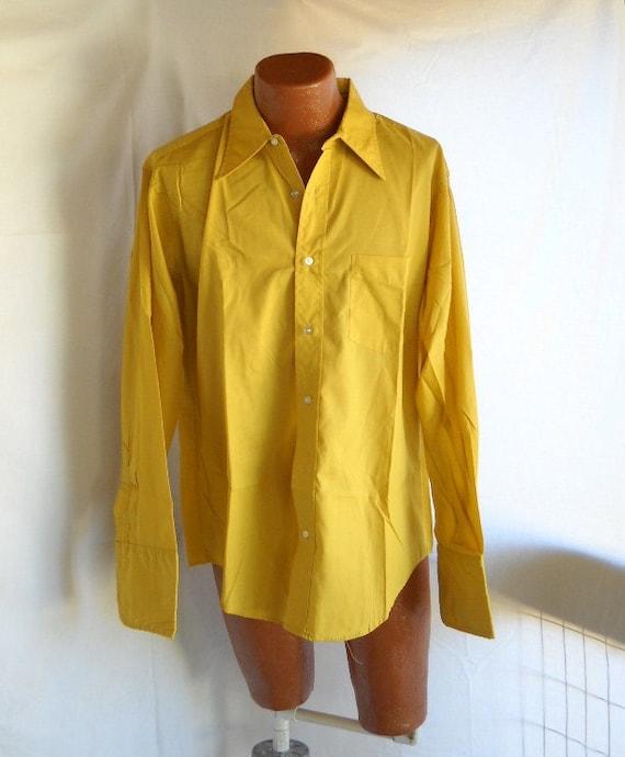 Vintage Shirt Men's Shirt Mustard Yellow Shirt  Long Sleeve Shirt Retro Menswear