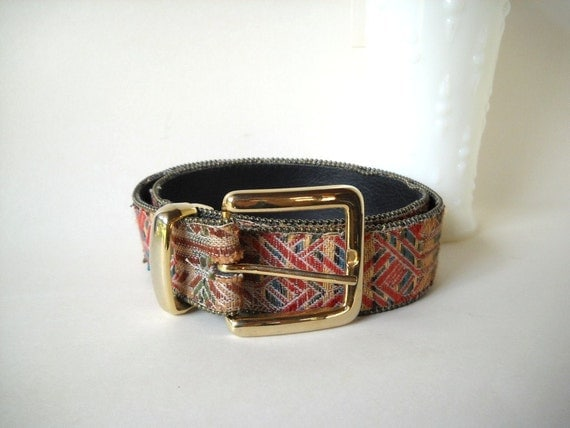 Vintage Belt Southwest Style Belt  Women's  Belt Tribal Geometric Colorful 1980s Fashion
