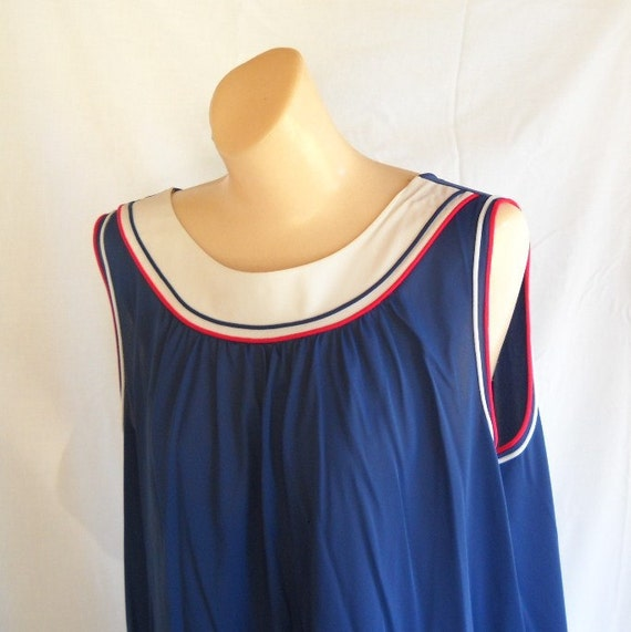 Vintage Nightgown Beach Cover Up  Lingerie Boat Neck Crew Neck Red White Navy Blue Nautical
