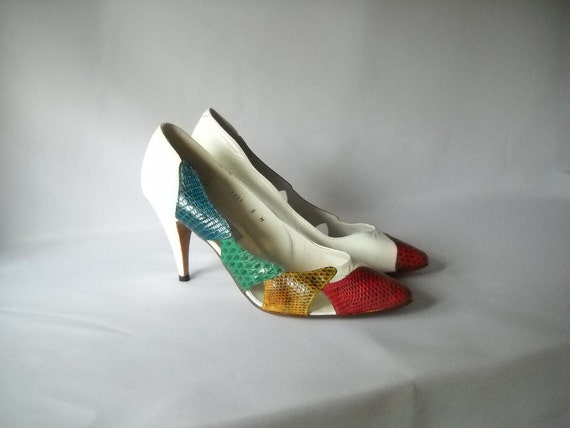 Vintage Shoes Aida Stiletto Pumps Size 8 Snakeskin Heels