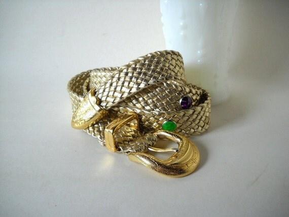 Vintage Belt Gold Braided Belt Disco Belt Jeweled Belt Sparkly Belt