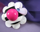 Clearance Item Blossom Brooch- Upcycled Accessory-Hot Pink Purple Reduced 30%