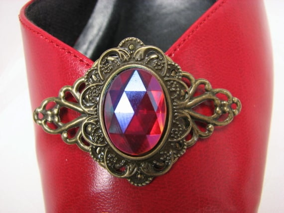 Red Shoe Clips Filigree Ruby Faceted Cabochon 1 Pair to wear with Flats, Pumps, Heels
