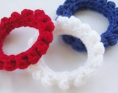 Crochet Bangle Bracelet Red White Blue Yarn July 4 Patriotic Jewelry Acrylic Set of Three