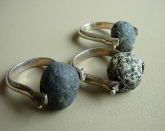 Rockin' Beach Stone Ring, granite, basalt, pebble, rock, beach stone jewelry, pebble jewelry, rock jewelry, rolling rock, rolling stone