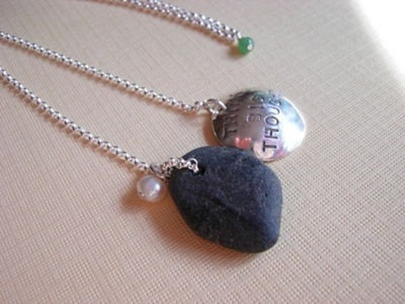 think big thoughts beach stone necklace