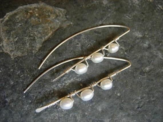 pearl stick earrings