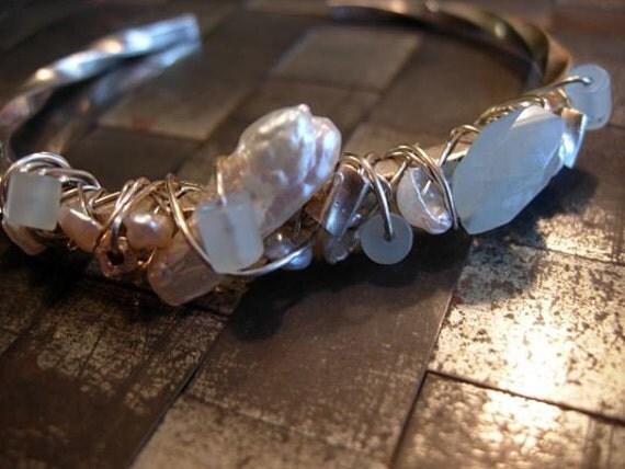 pearls and aquamarine bracelet