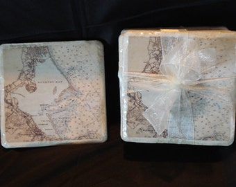 Nautical Chart Ceramic TIle Coasters