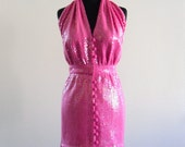 Glitzy Pink Sequin Halter Pleated Backless Glam Mini Barbie Cocktail Dress . GT
