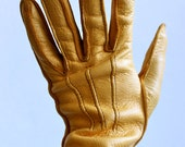 80s Pale Yellow Leather Pintuck Rocker Indie New Wave Hand Gloves . small . ABox
