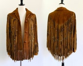 70s Brown Suede Southwestern Leather Fringe Boho Hippie Indian Ethnic Beaded Gypsy Jacket Coat . XS . small . hanger