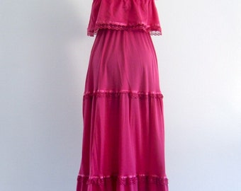 70s Pink prom Tiered Ruffle Boho Hippie Gypsy Prairie Maxi Wedding Gown Dress . small . SM . medium . D067 .