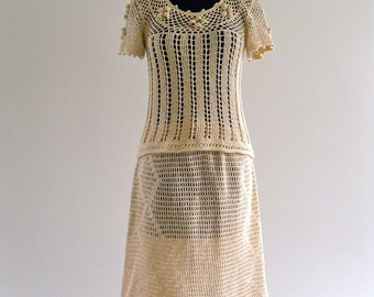 70s Boho Hippie Sheer Prairie CreaM Cotton CroChet Top Skirt DreSs Set . XS . small . SM . GT