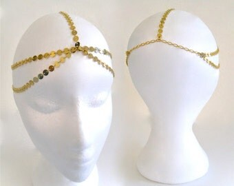 5 StRanD Gold pLaTed  BoHo BoheMian GypSy CoiN DiSc Chain HeaD PieCe DreSs BaND . One Size