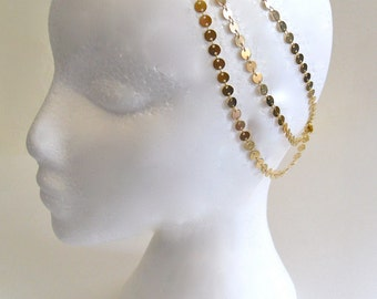 7 StRanD gOLd pLaTed BoHo BoheMian GypSy CoiN DiSc HeaD PieCe DreSs BaND