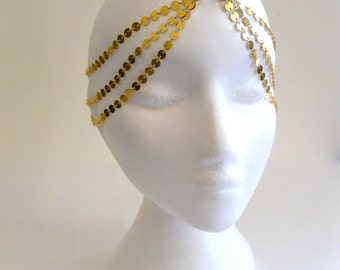 7 StRanD gOLd pLaTed BoHo BohemiaN HiPpie GypSy CoiN DiSc ChaiN HeaD PieCe DreSs BaND . One Size .
