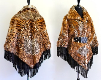 BoHo HiPPie SueDe LeaTher FrinGe GeNuiNe RaBBit FuR LeoPard PriNt CaPe CoaT JacKet PonCho . Free Size . Hanger