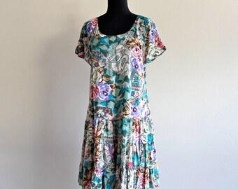90s Drop Waist Floral Indie Punk Grunge BabyDoll Tent Tunic Mini Dress . S/M . D013