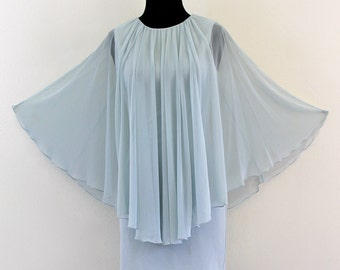 Baby Blue Poly Mesh Cape Capelet Disco Goddess Mod Mini Dress Bodycon Bandage . XS . small . D194