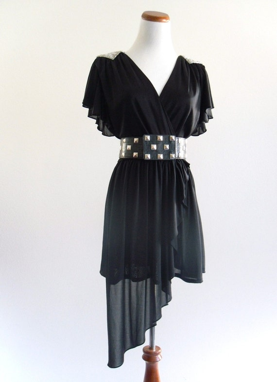 70s Black DISCO DiVa Flutter Draped LBD Mini Dress S M L . D033