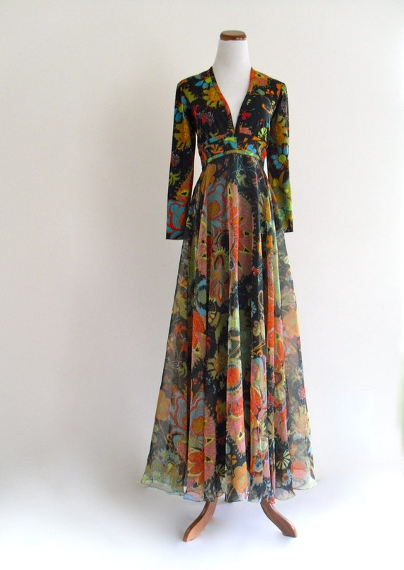 reserved /// Don Luis MOD Psychedelic CHIFFON maxi Gown DreSs . small . SM . medium . hanger .