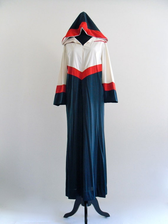70s CoLor bLocK HooDed CafTan LounGeWeaR BeaCh Swim CoVeR Maxi DreSs . One Size . SML . D066