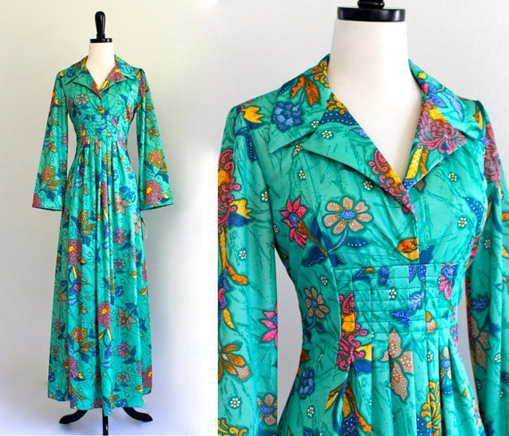 Psychedelic BoHo Hippie LouNgeWeaR FesTivaL CoStume HouSe DreSs MaXi GowN . Xs . small . GT