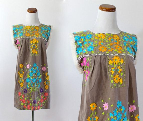 Ethnic Mexican Cotton Crochet Lace Trim Embroidered Floral Boho Hippy Festival . XS . SM . D142