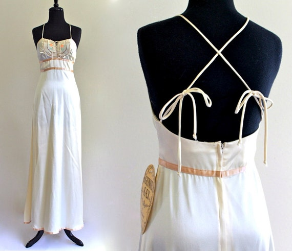 Reserved. Gunne Sax Sweetheart Corset Satin Silky Empire Boho Hippie Goddess Wedding Gown Maxi Dress . XS . small . D081