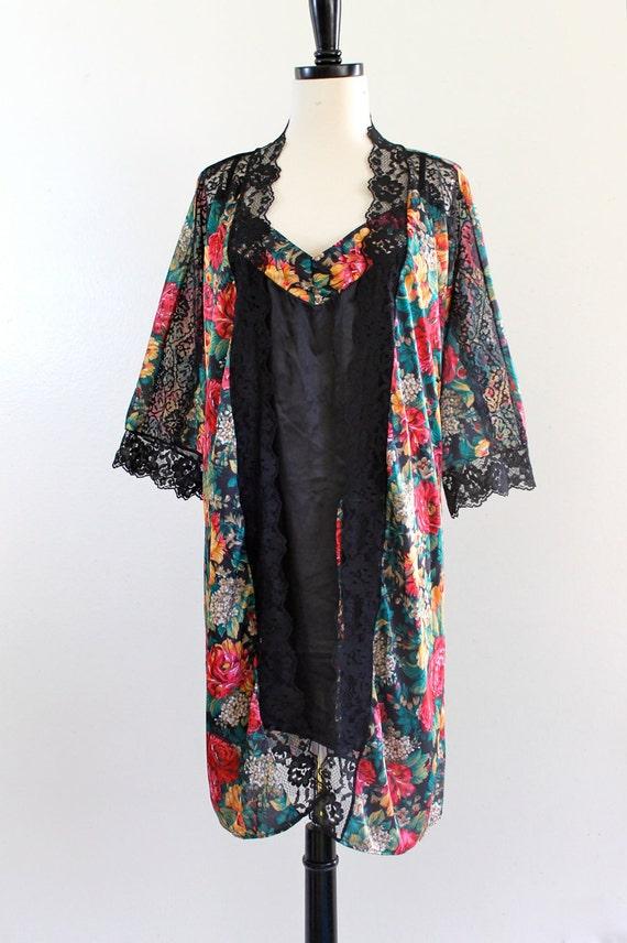 Floral Black Lace Slip 2 Piece Dress Jacket Kaftan Robe Nightgown Sleepwear Loungewear . Plus Size . D219