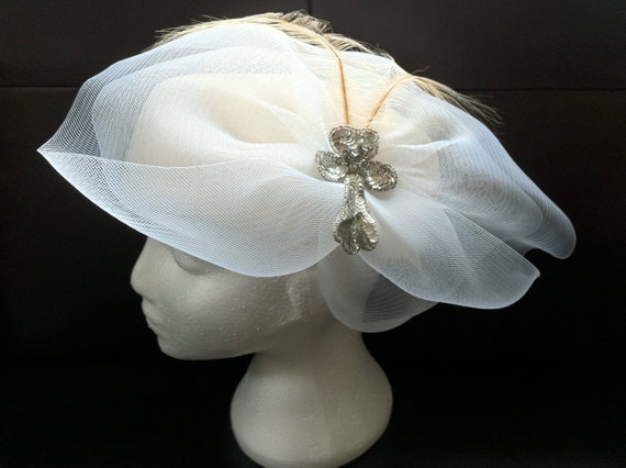"Reserved. Jan 26. Ivory Sequin Feather Veil Wool Hat Wedding Bridal by David Howard 22"" Diameter . Abox"