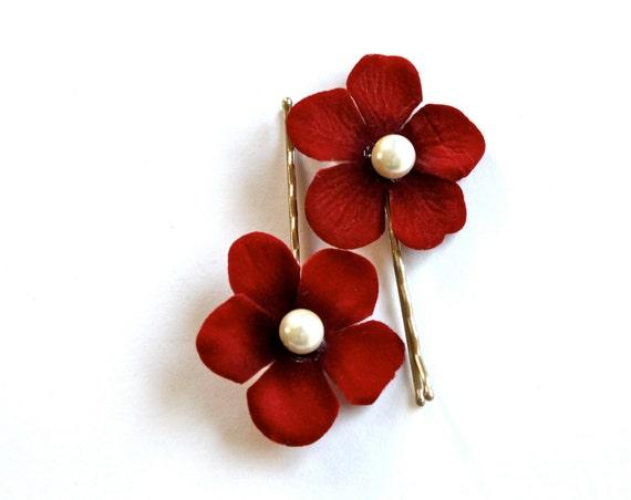 Red Velvet Elegance Hair Pins . Set of 2 .  Floral Wedding Hair Accessory Glam Pearl Beading Abox