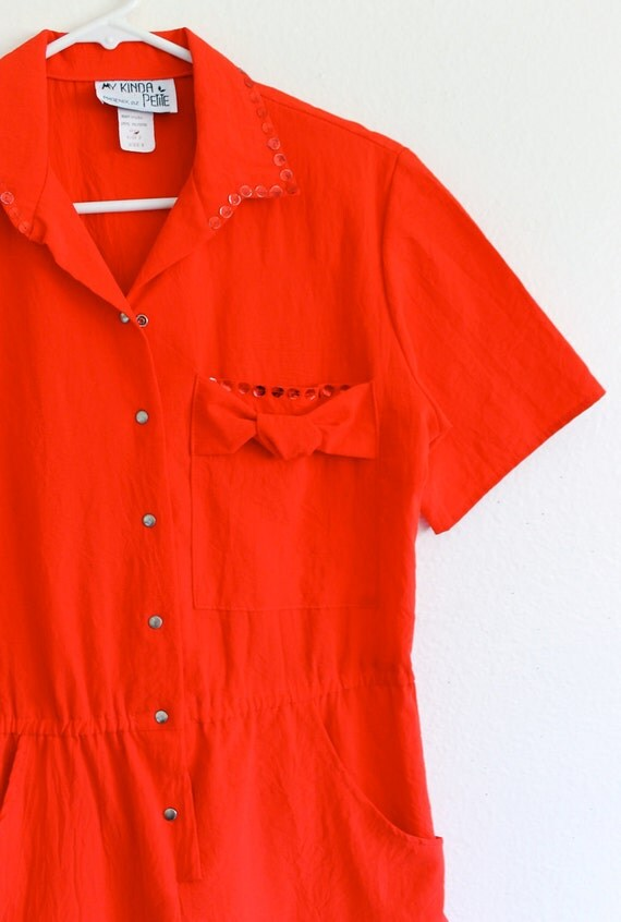80s Red Valentines Day Bow Sequin India Retro Glam Shirt Pant JumpSuit Romper Onesie . Medium . ML . D104