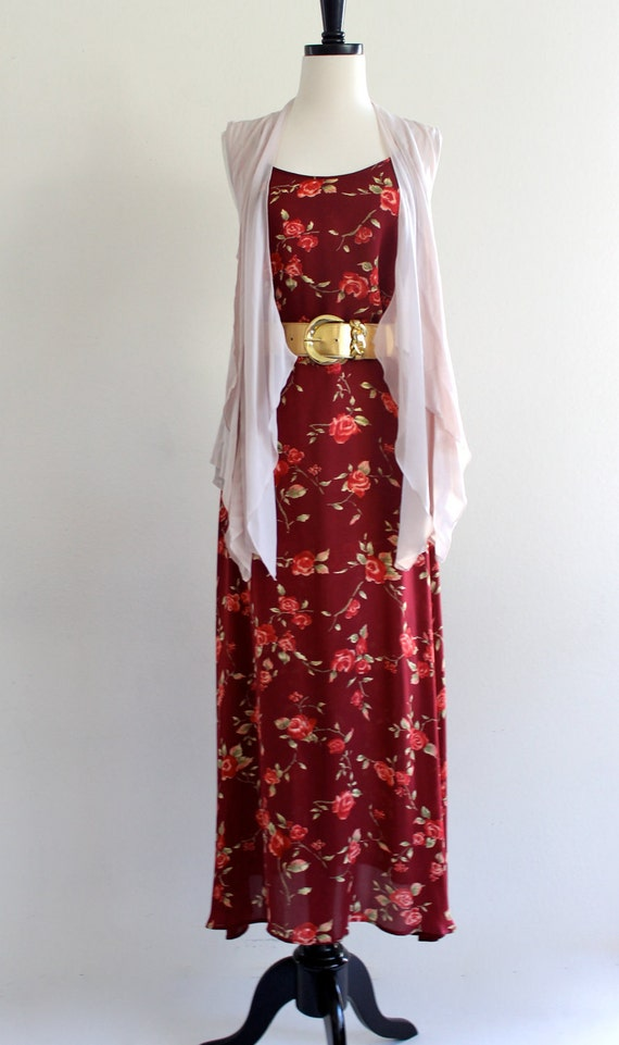 90s Sheer Floral Strap Punk Grunge Indie Ditsy Layering Maxi Dress Gown . XS . small . D165