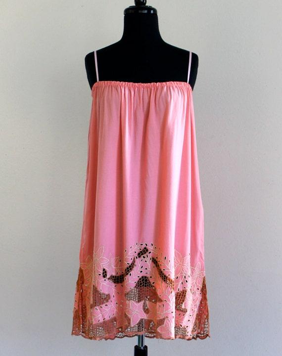 80s Bali Cutwork Cutout Embroidered Resort Boho Hippie Rayon Mini Dress Long Skirt . XS . small . D172