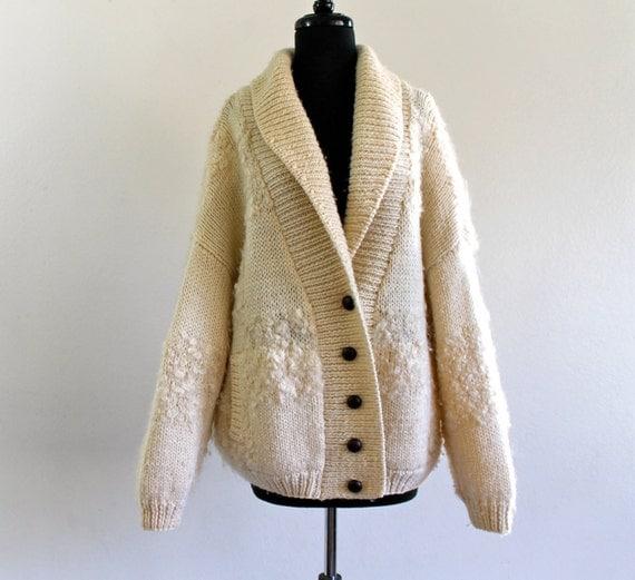 Ivory Oversized Wool Grandma Boho Hippie Punk Grunge Indie Slouch Sweater Cardigan Jacket M/L . XL . GT