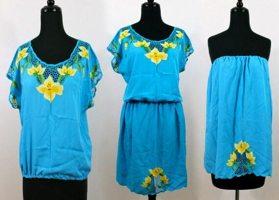 80s Bali Cutwork Cutout Embroidered Resort Boho Hippie Rayon Blouson Shirt Blouse Top Skirt Dress . Free Size . D082