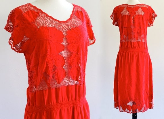 reserved . until July 31 . 80s Red Bali Cutwork Cutout Embroidered Rayon India Sheer Net Boho Hippie Resort Dress . S/M . D203