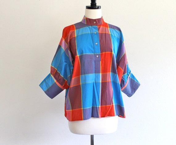 80s Plaid Batwing Draped Dress Collar Shirt Top Blouse Nautical Preppy Liz Claiborne . SM . D046