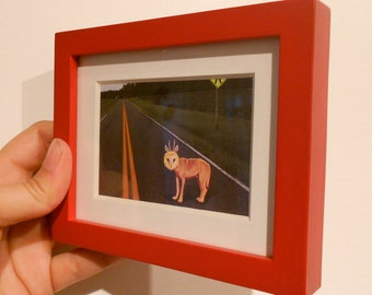 Animal Art, Mini framed picture, Quirky WolfOwl On the Road Again