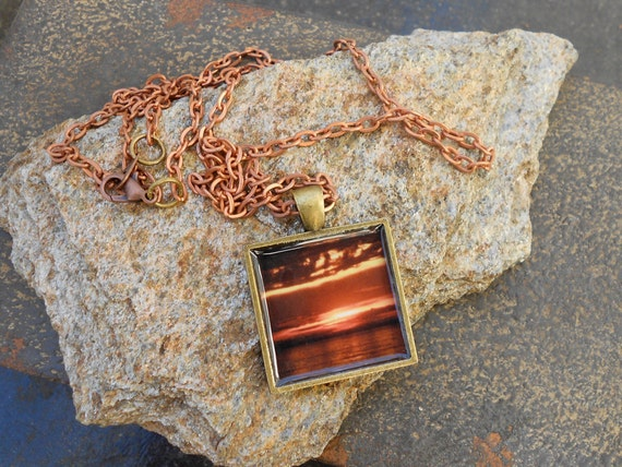Sunset Photo Necklace, Copper chain