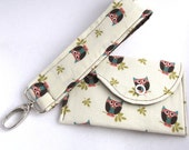GIFT SET - Whos Hoot Owl on Cream - Mini Card Snap Wallet and Wristlet Fabric Key Chain (Key FOB)