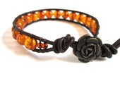 Genuine Baltic Amber and Greek Brown Leather - Single Leather Wrap Bracelet by The CamBrayah Collection