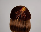 vintage 50s hat feather velvet brown autumn classic