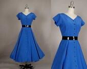 vintage 1980s dress full skirt royal blue 50s inspired rockabilly