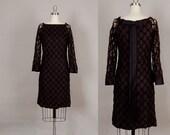 vintage 1960s dress 60s dress black lace mod satin bell sleeve