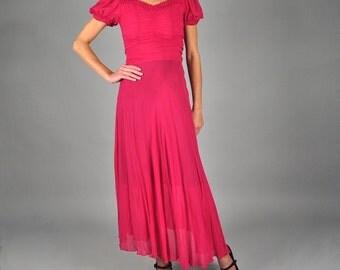 1930s Dress / 30s Dress / Vintage 1930s silk art deco sheer gathered full skirt magenta pink