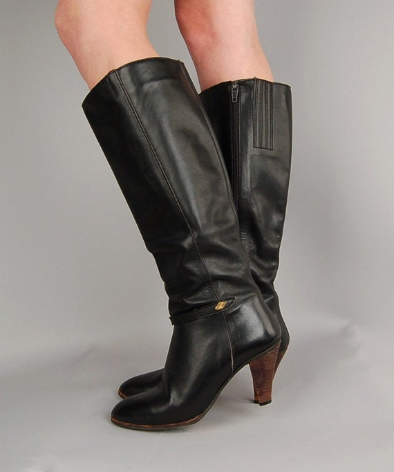 vintage black leather knee high stacked wood heel boots